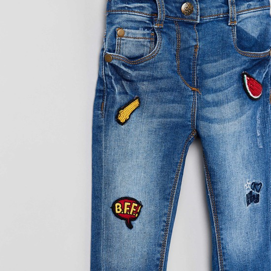 MAX Stonewashed Jeans with Applique Detail