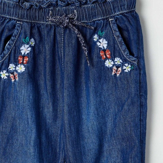 MAX Floral Embroidery Dark Washed Denim Joggers