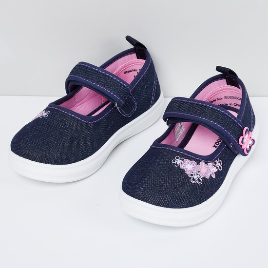 MAX Floral Embroidery Denim Mary Janes