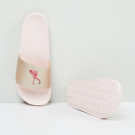 MAX Textured Sliders with Embroidered Strap