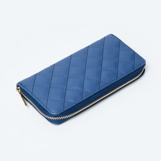 MAX Quilted Zip-Closure Wallet with Embellishment