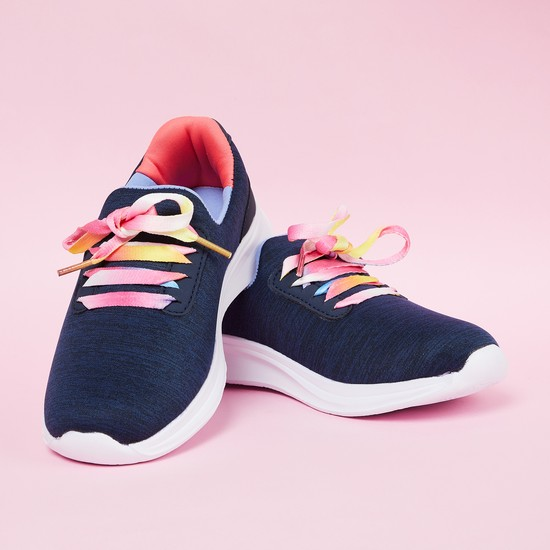 MAX Textured Low-Top Casual Shoes with Contrast Lace
