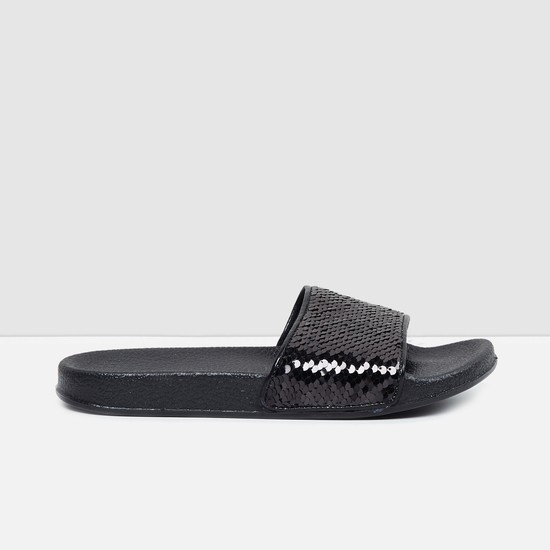 MAX Textured Sliders with Sequin Embellishments