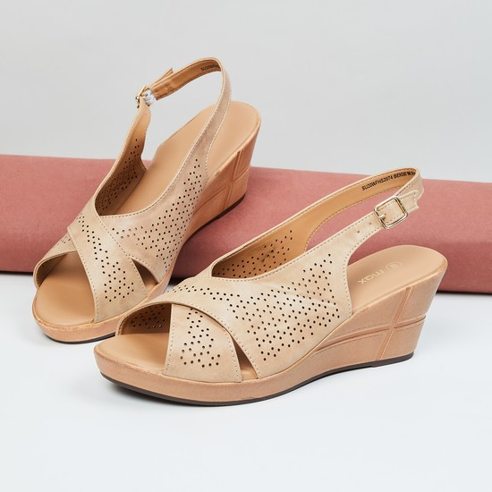 MAX Perforated Peep-Toe Wedges with Slingback Strap
