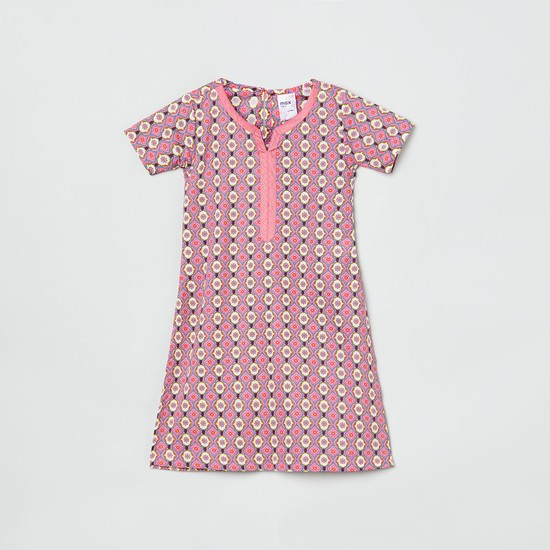 MAX Printed A-line Kurta with Notched Neck