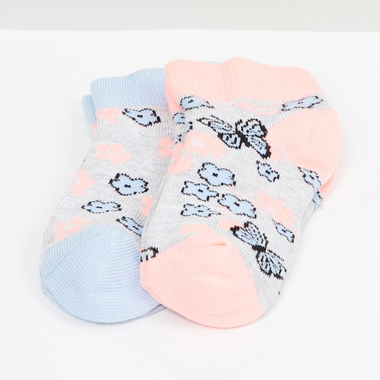 MAX Kids Floral Patterned Socks- Set of 2 - 2-4 Y
