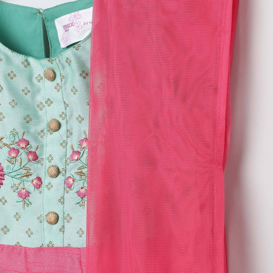 MAX Floral Embroidery A-line Dress with Dupatta