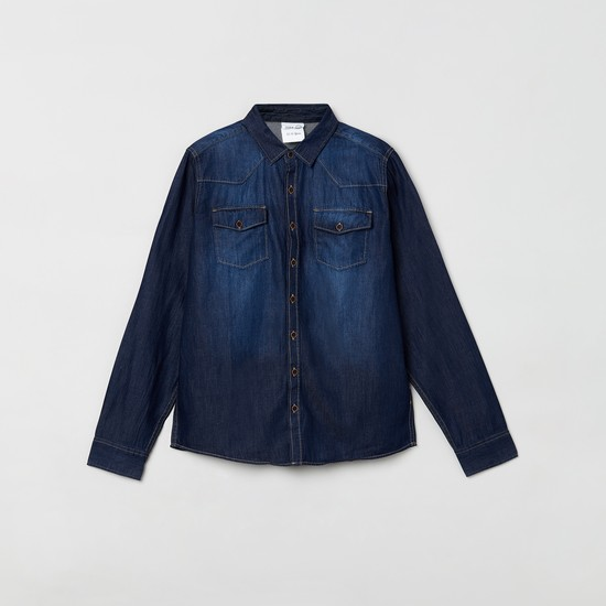 MAX Washed Full Sleevees Denim Shirt