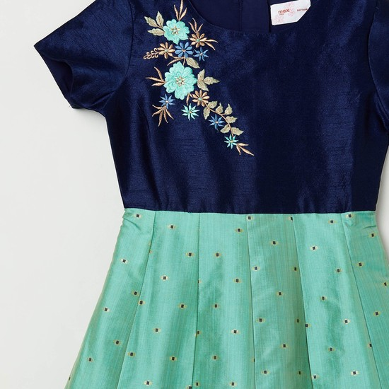 MAX Floral Embroidery Fit and Flare Dress