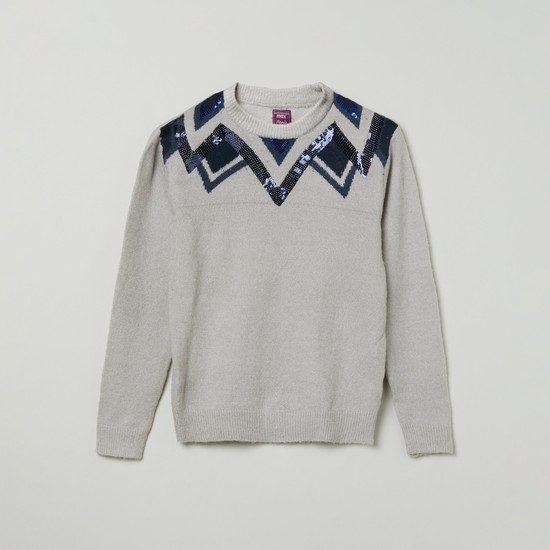 MAX Sequinned Full Sleeves Sweater