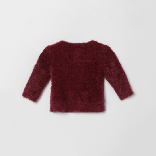 MAX Solid Cardigan with Faux-Fur Trim