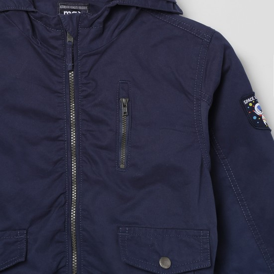 MAX Solid Hooded Jacket with Zip Closure