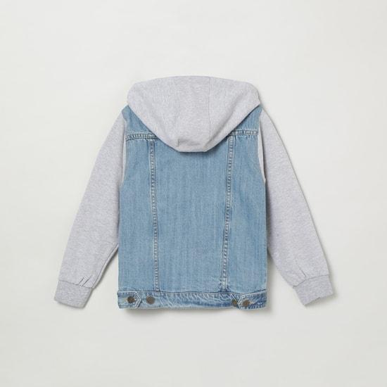 MAX Washed Denim Jacket with Hood