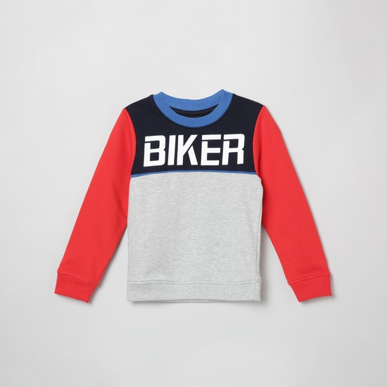 MAX Colourblocked Full Sleeves Sweatshirt with Chest Print