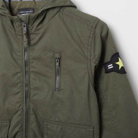 MAX Solid Bomber Hooded Jacket with Applique Detail