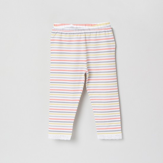 MAX Striped 3/4th Leggings with Lace Hem
