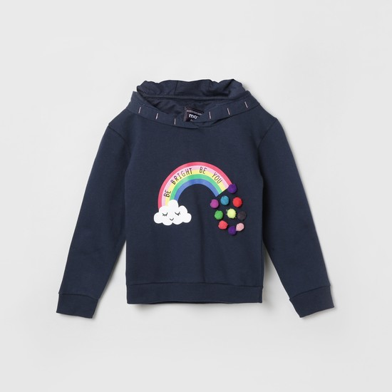 MAX Graphic Print Hoodie with Pompoms