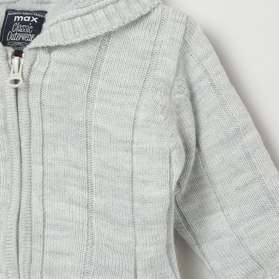 MAX Ribbed Hooded Sweater with Zip-Closure