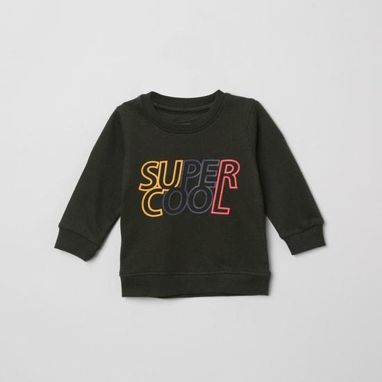 MAX Typographic Print Sweatshirt with Long Sleeves