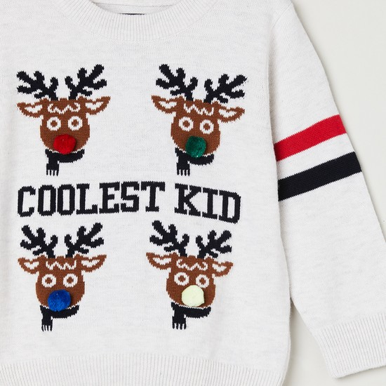 MAX Patterned Knitted Crew Neck Sweater
