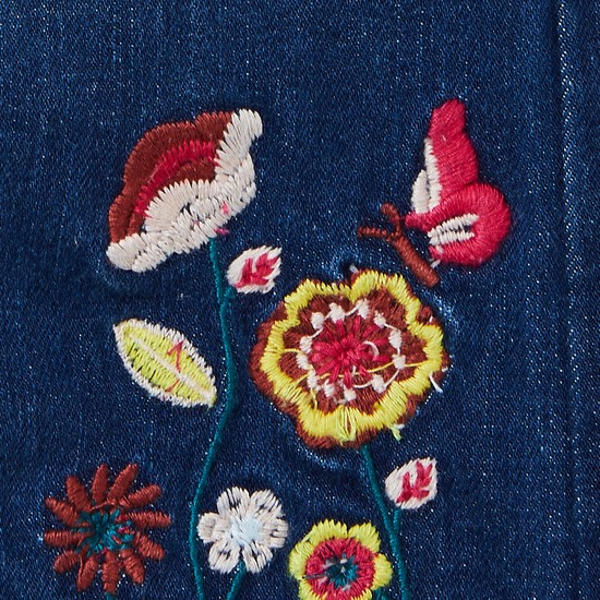 MAX Stonewashed Jeans with Floral Embroidery
