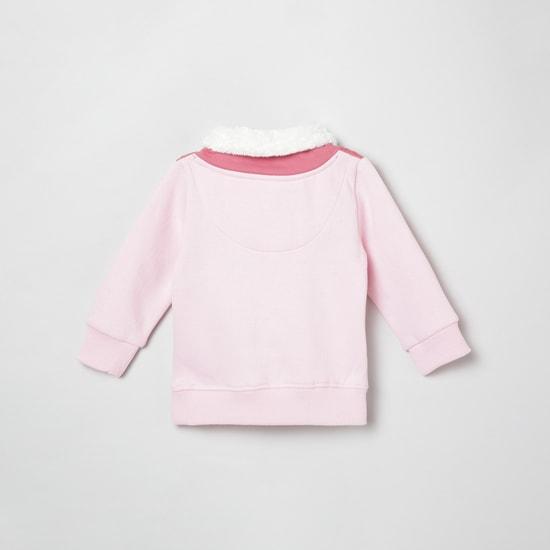 MAX Colorblocked Faux Fur Neck Sweatshirt