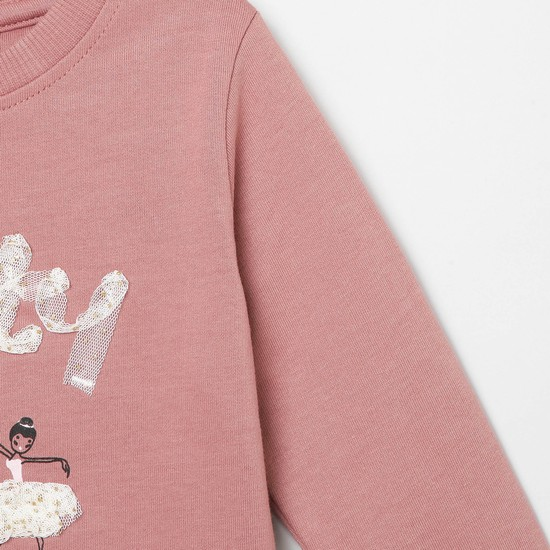 MAX Printed Sweatshirt with Lace Applique