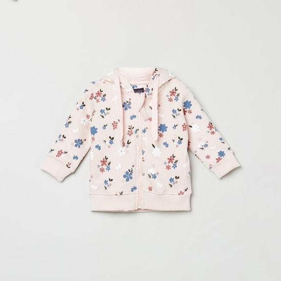 MAX Floral Print Zip-Front Hoodie