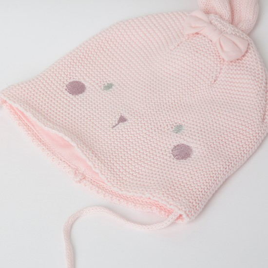 MAX Embroidered Knit Beanie with Mittens