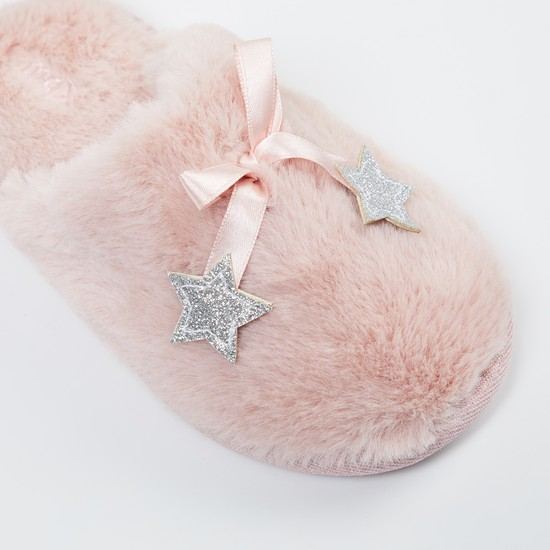 MAX Fauc-Fur Mules with Star Applique