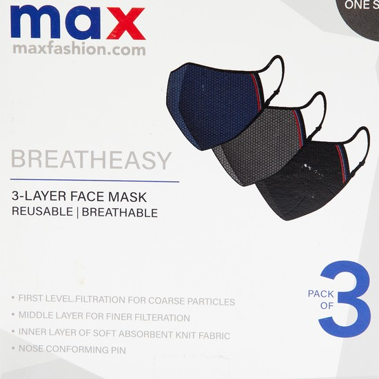 MAX BreathEasy Textured 3-Layered Reusable Masks - Pack of 3