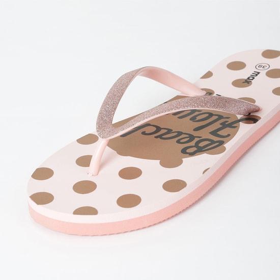 MAX Typographic Print Polka Dot Flip-Flops