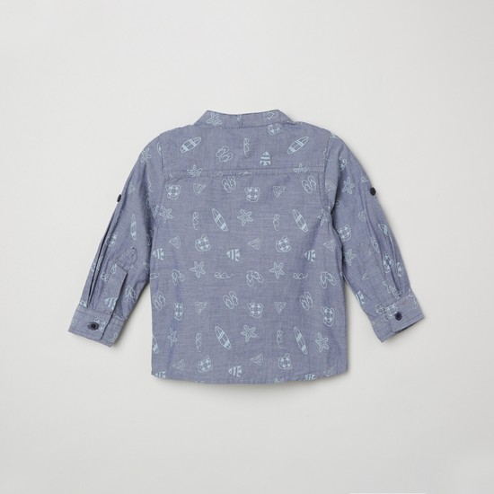 MAX Printed Roll-Up Sleeves Shirt
