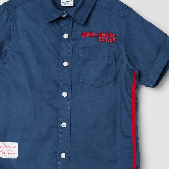 MAX Solid Short Sleeves Shirt with Applique