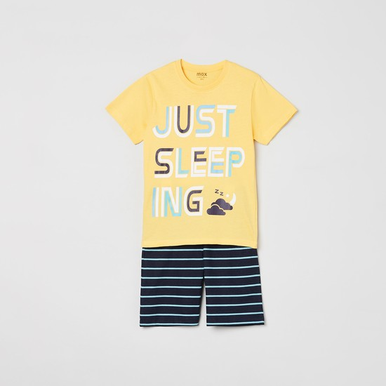 MAX Printed Crew Neck T-shirt with Striped Shorts