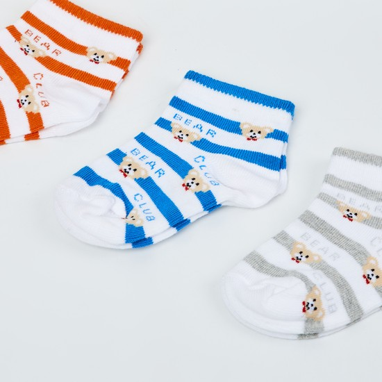 MAX Kids Striped Socks- Pack of 3 - 1-2 Y