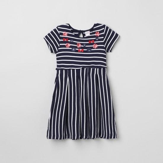 MAX Striped Round Neck A-Line Dress