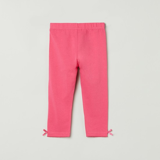 MAX Solid Bow Trimmed 3/4th Leggings