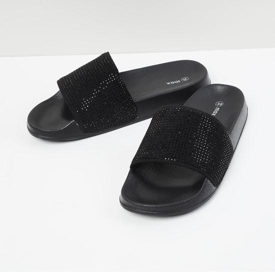 MAX Embellished Open-Toed Sliders