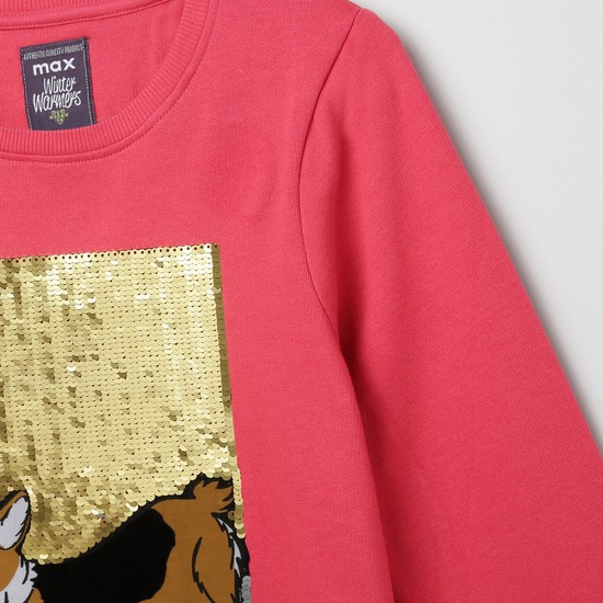 MAX Typographic Print Sequinned Sweatshirt