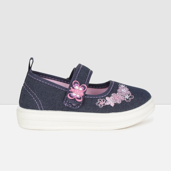 MAX Embroidered Mid Strap Slip-On Canvas Shoes
