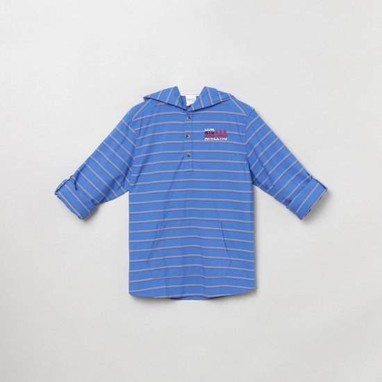 MAX Striped Hooded Shirt