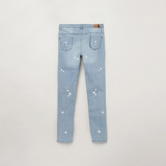 MAX Floral Embroidered Stonewashed Slim Fit Jeans