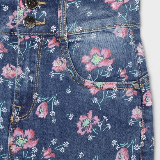 MAX Floral Print Slim Fit Denim Jeans