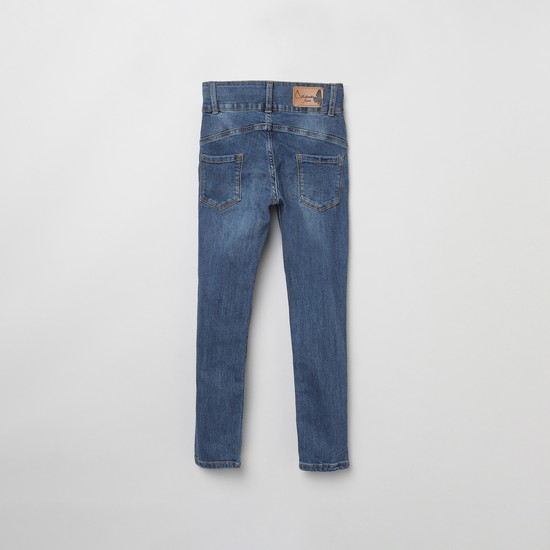 MAX Stonewashed Printed Slim Fit Jeans