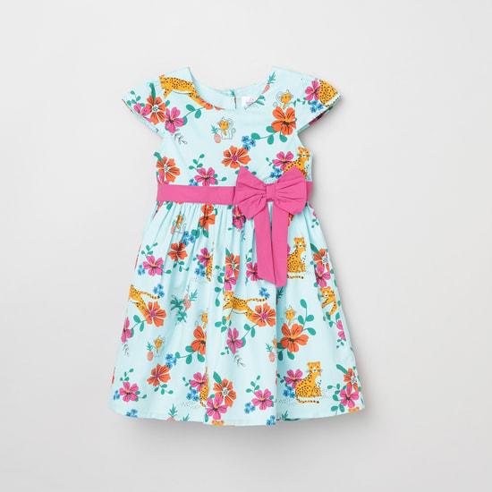 MAX Floral Print Cap Sleeves A-line Dress