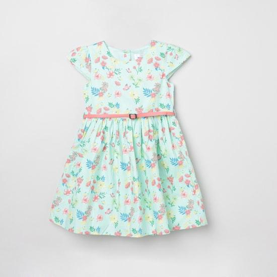 MAX Floral Print Cap Sleeves Dress