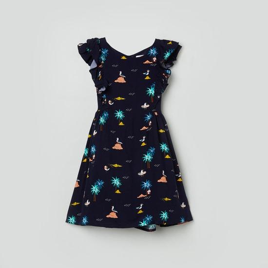 MAX Printed Ruffled Sleeves A-Line Dress