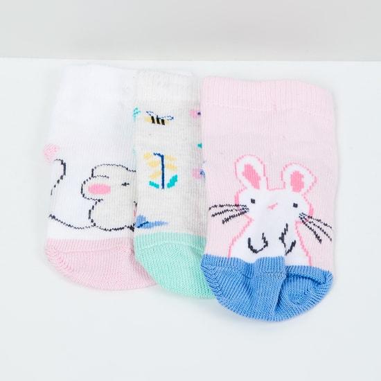 MAX Printed Ankle-Length Socks - Set of 3- 1-2 Y