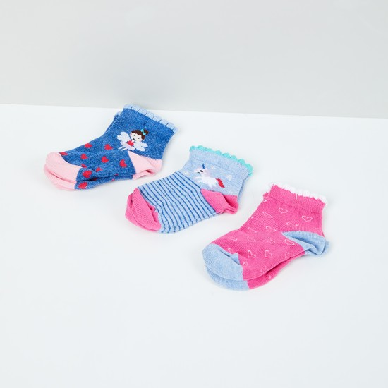 MAX Woven Design Socks - Pack of 3- 1-2 Y